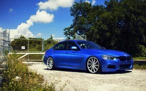 Picture BMW, BMW, wheels, blue, 335i, vossen, f30, frontside