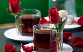 Wallpaper love, tea, romance, mood, rose, roses, petals, Cup, love, rose, drinks, gently, harmony, holidays, harmony, ...