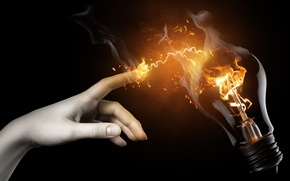 Picture light bulb, fire, Hand