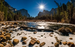 Wallpaper rays, mountains, California, trees, USA, water, forest, stream, the sun, the sky, rocks, Yosemite National ...
