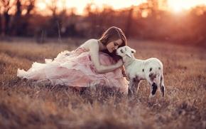 Wallpaper dress, mood, goat, girl
