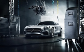Picture Mercedes-Benz, Front, AMG, Color, Silver, Engine, 2016, GT S