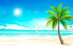 Picture sea, the sun, tropics, Palma, sailboat