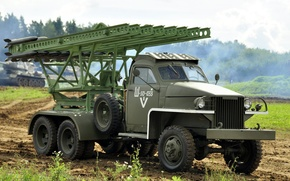 Picture machine, war, combat, Soviet, WW2, period, Domestic, Great, BM-13, jet, artillery, Katusha