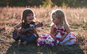 Picture children, mood, guitar, boy, girl