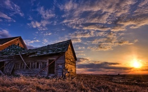Picture field, sunset, hut, Old house