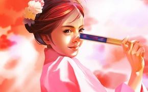 Picture face, Japanese, hand, fan, hairstyle, girl, kimono, pink background, art, Saisai Ye