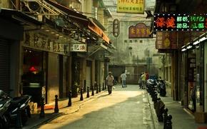 Picture sunset, street, people, Macau, Chine