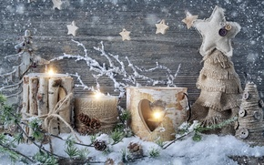 Picture snow, decoration, candles, New Year, Christmas, Christmas, vintage, New Year, decoration, Happy, Merry