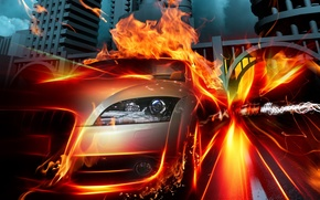 Wallpaper flame, auto, speed, fire
