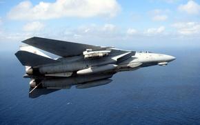 Wallpaper Fighter-bomber, Flight, The sky, Water, Grumman, Clouds, Tomcat, Interceptor, F-14, Height, Sea, Deck