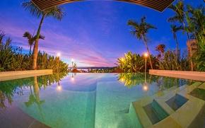 Picture palm trees, Villa, pool, pool, sunset, Fiji