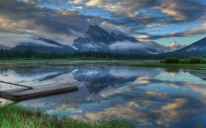 Picture forest, the sky, clouds, reflection, mountains, lake