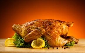 Picture table, lemon, chicken, salad, black pepper