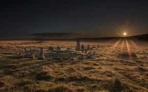 Picture sunrise, Dartmoor National Park, Stone Circle