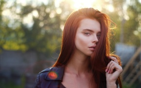 Picture look, girl, light, sunset, glare, portrait, red, sexy, the beauty, effects, beauty, bokeh, russian, Ilya …