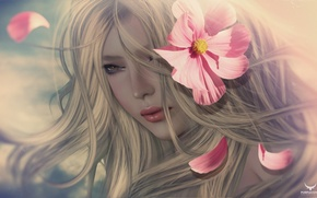 Wallpaper flower, girl, portrait, blonde