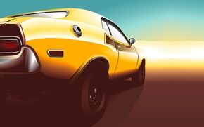 Picture sunset, yellow, vector, Dodge, Challenger, muscle car, Dodge, yellow, muscle car, rear, Challenger