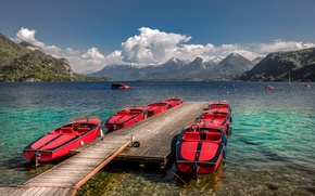 Picture clouds, mountains, lake, boats, Austria, pier, red, Sunny, Sankt Gilgen