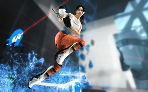 Picture look, girl, face, hair, robot, Mike, Portal, chell
