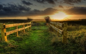Picture sunset, fence, bright and dark