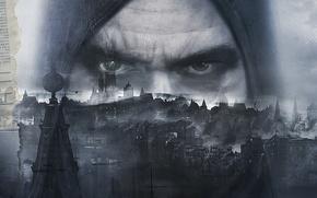 Picture eyes, look, the city, bird, tower, home, hood, thief, Eidos Interactive, 2014, Thief, Garrett, Eidos …