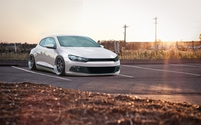Picture volkswagen, white, tuning, bbs, germany, low, stance, Scirocco