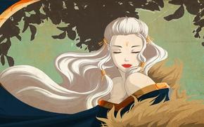 Picture girl, dress, art, fur, white hair