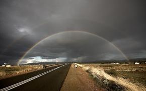 Wallpaper rainbow, grass, clouds, Road