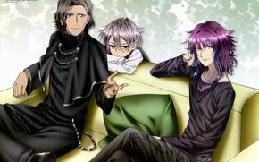 Picture sofa, boy, pillow, three, the priest, tenkei iwafune, is travel mishakuji, k projeck, goujou sakuna
