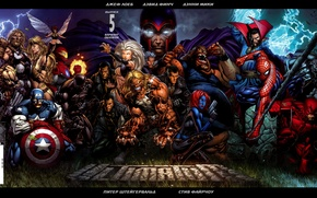 Wallpaper iron man, spider-man, Thor, fantastic four, rassomaha, x-men, Hulk, captain America