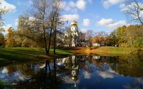 Picture autumn, the sky, clouds, lake, October, day, Church, St Petersburg..., Pushkin