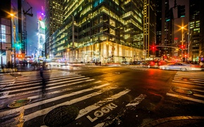Picture Manhattan, NYC, street, road, machine, crossroads, the city, lights, night, Midtown, One Bryant Park, Bank ...