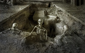 Picture skeletons, holiday, grave