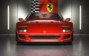 Wallpaper Ferrarif40, red, logo