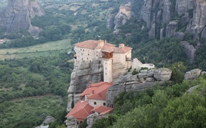 """Picture trees, mountains, rocks, morning, Greece, haze, buildings, complex, small, monastery, Thessaly, """"Meteora"""""""