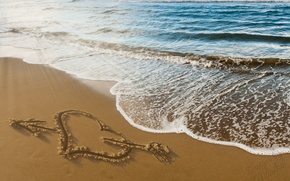Picture sand, beach, love, romance, heart, figure, love, beach, sea, heart, sand, design by Marika