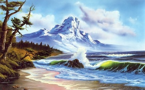 Picture sea, forest, the sky, foam, water, clouds, snow, tree, shore, wave, mountain, picture, painting, Bob …