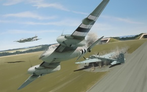Picture war, art, painting, drawing, ww2, british airplane, de havilland mosquito