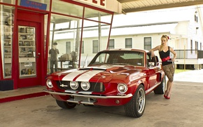 Picture girl, Ford, Girls, shop, red car