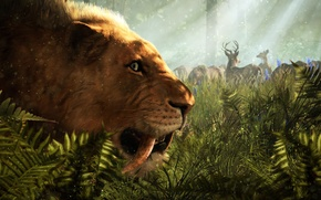 Picture Grass, Far Cry, Ubisoft, Primal, Saber-toothed tiger