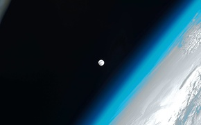 Picture the atmosphere, The moon, Earth, ISS, photo NASA