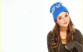 Picture look, girl, face, sweetheart, hat, hair, earrings, actress, beauty, white background, singer, brown hair, beautiful, …
