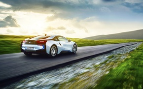 Picture BMW, Grass, Speed, White, Motion, Exotic, Rear