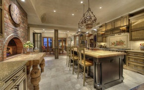 Picture design, style, Villa, interior, kitchen, oven, dining room, living space, ranch