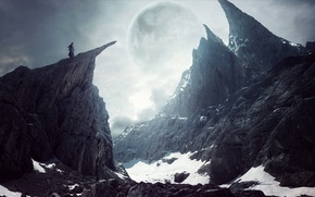 Picture girl, snow, landscape, rocks, the moon