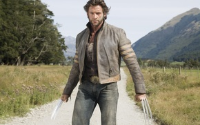 Picture look, mountains, jacket, dust, x-men, sand, male, Hugh Jackman, hugh jackman, handsome, knives, wolverine, trees, ...