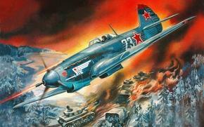 Picture WW2., Russian, Yakovlev, single-engine, fighter, Soviet, Valery Rudenko, German, column, Yak-9K, How-9K, fighter, airstrike