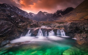 Picture clouds, landscape, mountains, waterfall, Wallpaper from lolita777