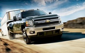 Wallpaper Chevrolet, the sky, the steppe, speed, the trailer